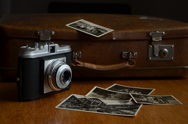 old photographs and a briefcase